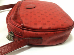 80's vintage FENDI red oval round shape shoulder purse with small FF logo print allover. So chic and cute.