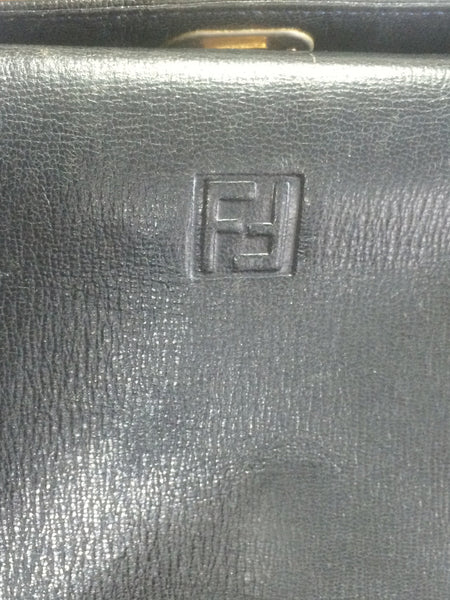 53ffa7668b3b ... Vintage FENDI genuine navy leather square and triangle shape handbag  with embossed FF logo at front ...