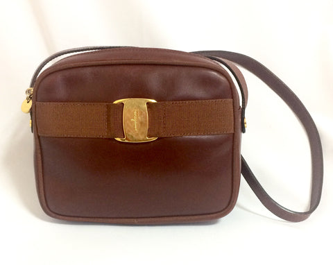 Vintage Salvatore Ferragamo vara collection brown leather purse with gold tone ferragamo charm