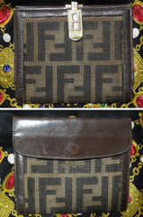 Vintage FENDI pecan logo jacquard and dark brown leather wallet with gold tone FF logo motif closure hock. Unisex. Great gift