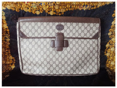 Vintage Gucci monogram large portfolio purse, document case with dark brown leather trimmings. Unisex use