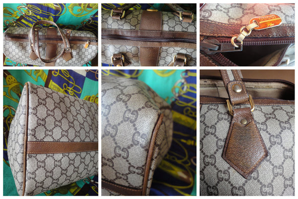 e38b8075288de8 Good Vintage Gucci Plus brown monogram duffle bag with leather trimming and  original zipper pull. Good