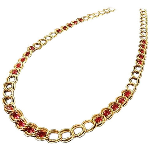 MINT. Vintage Givenchy wine red Swarovski stone crystals and gold tone chain long necklace. Gorgeous statement jewelry. Audrey Hepburn