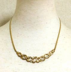 Vintage Givenchy double wave design flap chain necklace with rhinestone crystals. Classic and simple statement necklace in the era. Audrey Hepburn