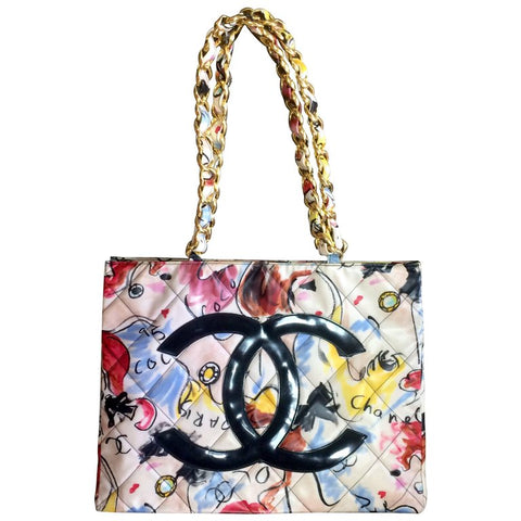 Vintage CHANEL vinyl large shoulder bag, tote bag with red, yellow, blue colorful Chanel graffiti prints and black CC motif.  Rare purse.
