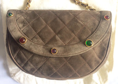 Vintage CHANEL beige brown, cocoa brown suede leather chain shoulder bag with green, red, and purple gripoix stones. Rare masterpiece.