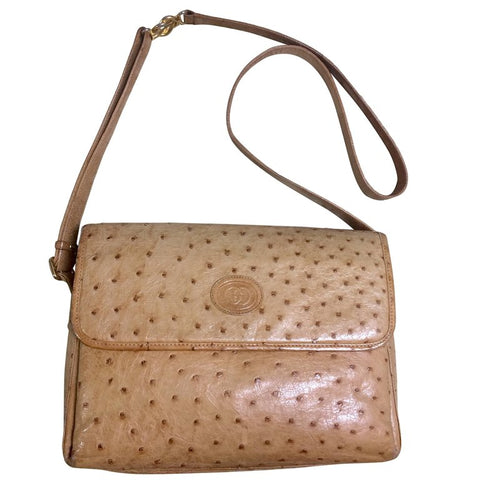 Vintage GUCCI nude brown genuine ostrich leather camera bag style shoulder bag with logo embossed motif. Rare masterpiece.