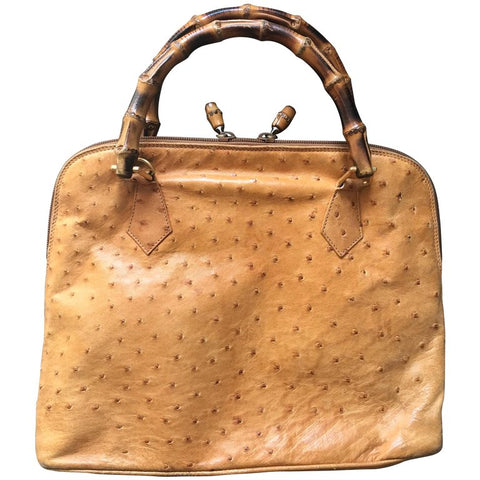 Vintage GUCCI orange brown color genuine ostrich leather bolide bag style handbag with bamboo handles. Masterpiece from Bamboo collection.