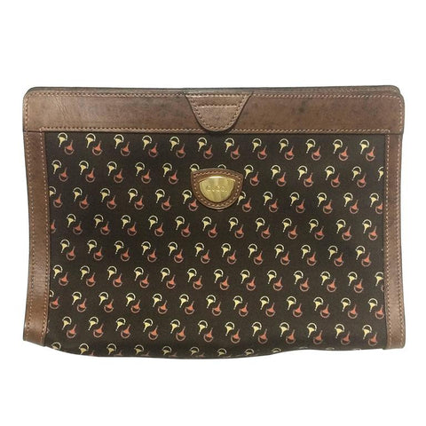 ddcd3a1e4122b5 80s Vintage Gucci brown toiletary clutch pouch with all over horsebit print  canvas with leather trimming