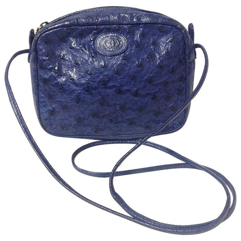 Vintage GUCCI genuine blue ostrich leather camera bag style shoulder purse with logo embossed motif and golden charm. Rare masterpiece.