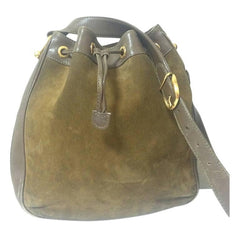 Vintage Gucci genuine brown suede leather large hobo bucket shoulder bag with iconic horsebit motifs. Unisex use