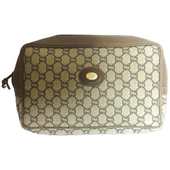 80's vintage Gucci Plus beige monogram large size makeup case, toiletry pouch, purse with golden logo plate. Unisex use