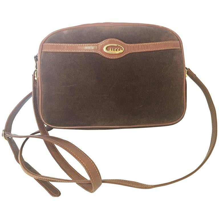 0c360b8c68e1 Vintage Gucci brown suede oval shape shoulder purse with riri zippers.  masterpiece of old gucci