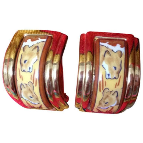 MINT. Vintage Hermes cloisonne porcelain golden earrings with twin lions design. Sweet lioness. Great gift idea