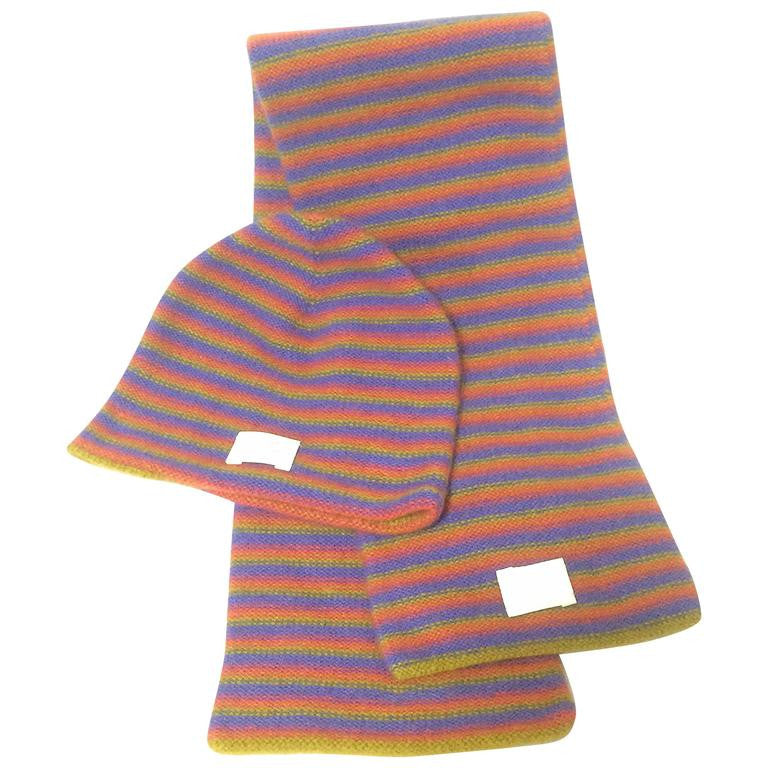 Vintage Hermes 100% Cashmere knit kids, baby scarf and cap, hat in multiple color stripe in purple, olive yellow, and pink. Made in Italy.