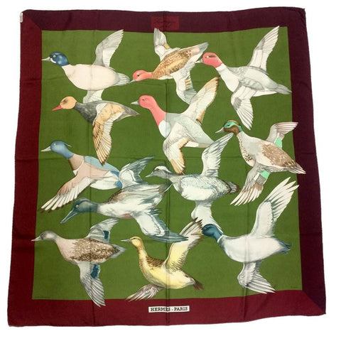 Vintage HERMES Carre silk scarf wine red, olive green, and various wild ducks, migratory birds print. Classic foulard. Perfect gift.