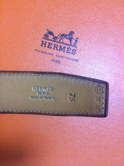 "MINT. Vintage HERMES brown courchevel leather Kelly belt. Stamp S in O, 1989. size 75. 27.5"", 28.5"", and 29.5""."