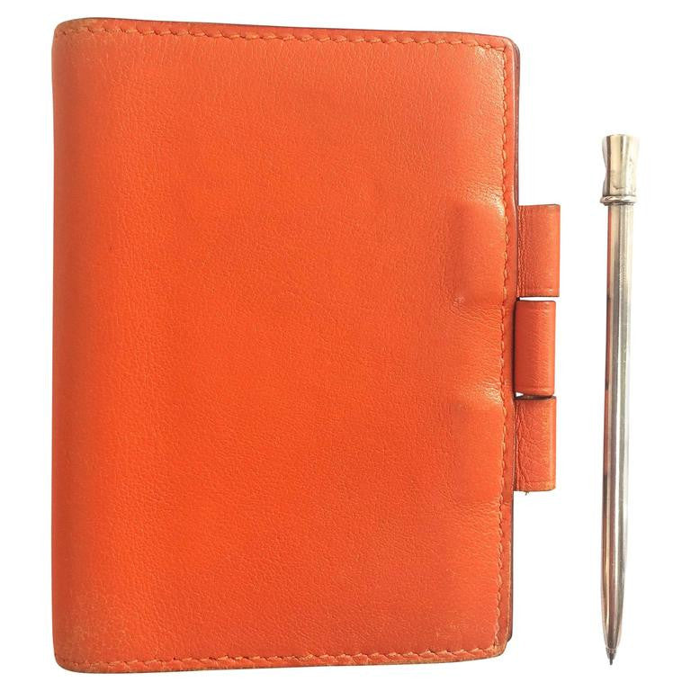 Vintage HERMES genuine orange leather diary, schedule book cover PM with silver mechanical pencil. Perfect professional stationery