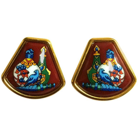 Vintage Hermes cloisonne golden earrings with colorful white, blue, green, pink perfume bottle design in wine. Fan shape.