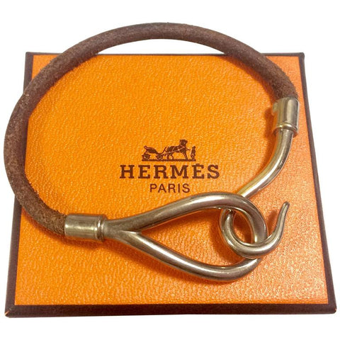 Vintage Hermes Jumbo leather and silver bracelet. Classic and casual jewelry from Hermes.