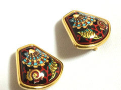 Vintage Hermes cloisonne enamel golden earrings with black ocean, sea, red, blue colorful shell, red coral design. Fan shape.