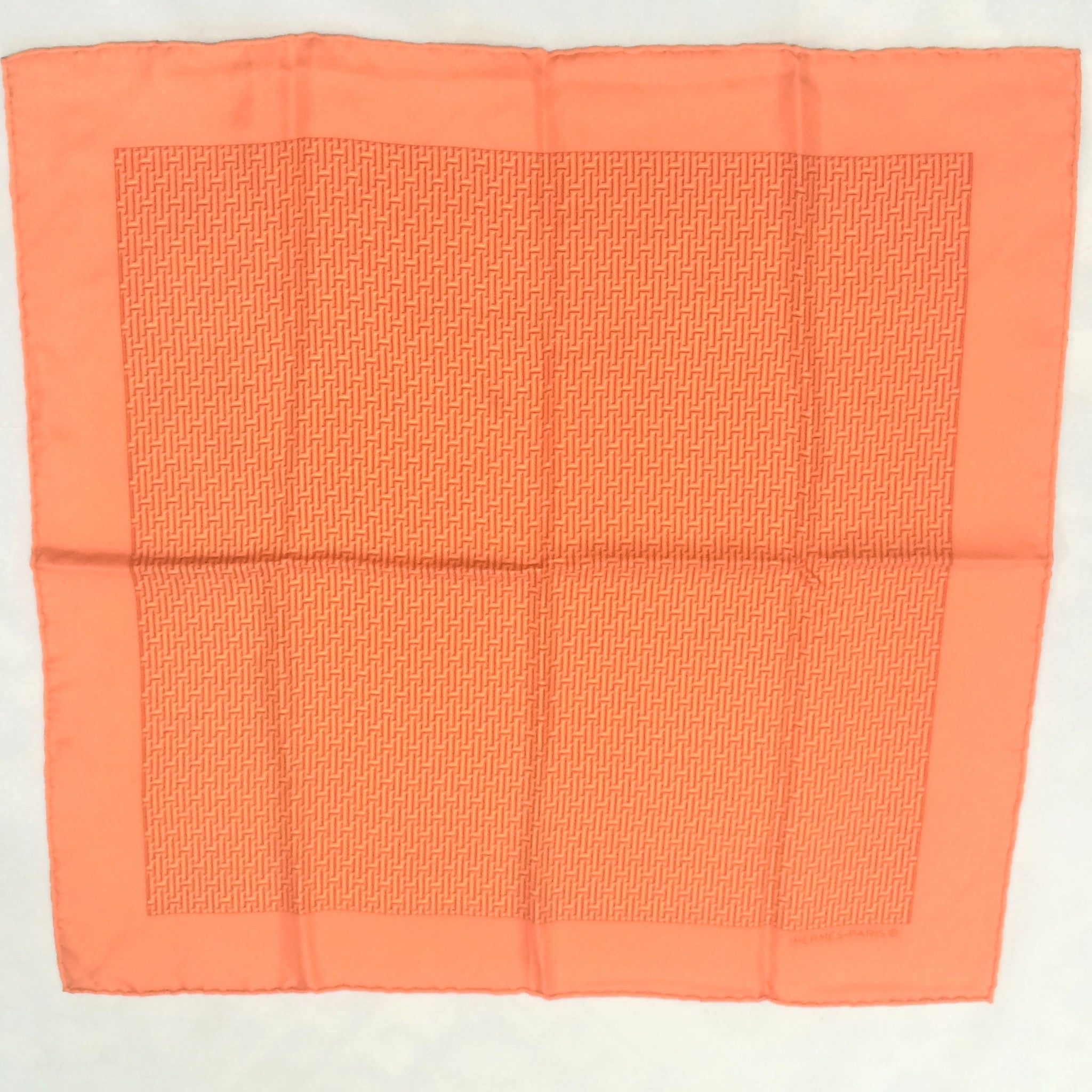 "MINT. Vintage HERMES mini carre twill orange and logo print silk scarf. Classic and elegant scarf for daily use. 42cm, 16.5"" width"