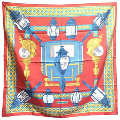 Vintage Hermes large carre twill silk scarf in light brick red, blue, and gold. Armor, Knight motif lamp design. Classic foulard.