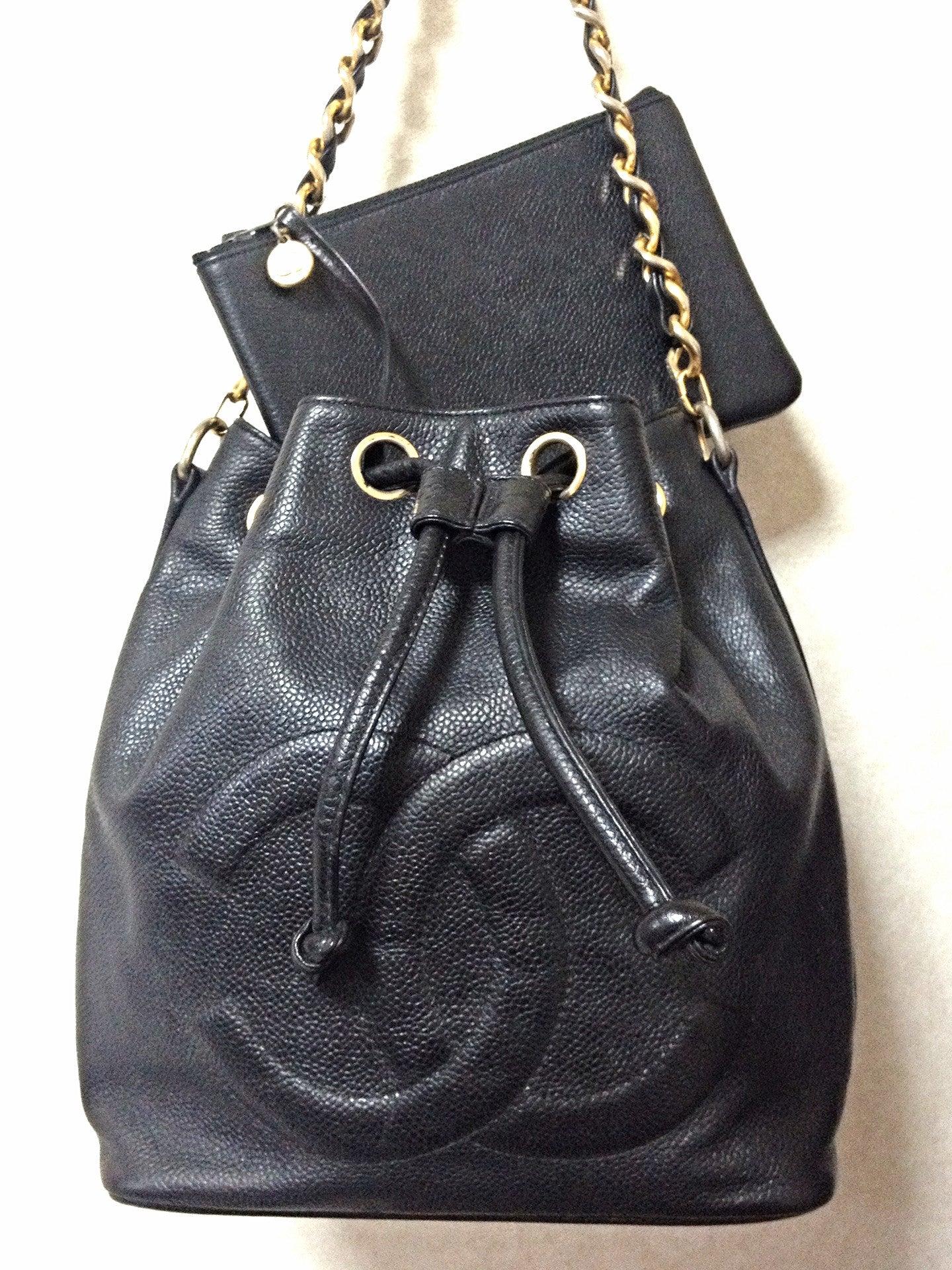 d6f80934834 Vintage CHANEL black caviar leather hobo bucket shoulder bag with golden  chain strap, drawstrings,. Sale