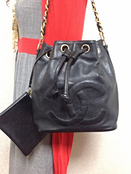 89dcb80cf116 Brand-new Vintage CHANEL black caviar leather hobo bucket shoulder bag with  IH58