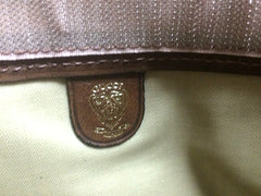 80s Vintage Gucci brown toiletary clutch pouch with all over horsebit print canvas with leather trimming. very rare piece materpiece.