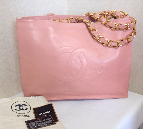 SOLD OUT: Vintage CHANEL milky pink calf leather large tote bag with gold tone chain handles and CC motif. Rare color purse for daily use