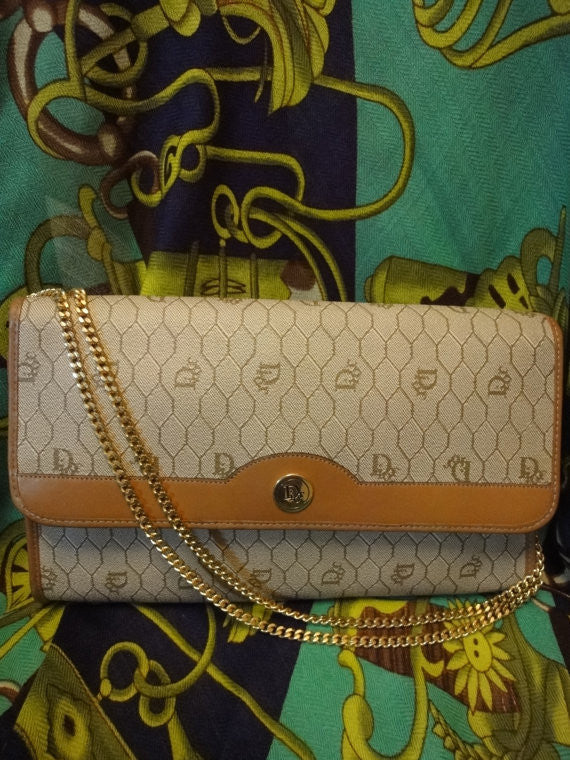 SOLD OUT: Vintage Christian Dior Vintage beige purse with CD charm and gold tone chains.