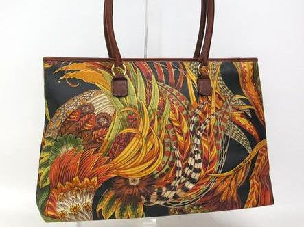SOLD OUT: 90s Salvatore Ferragamo tropical pattern tote with leather trimming