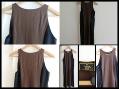 Vintage FENDI brown and grey mode dress. Simple and elegant dress.