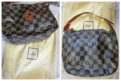 SOLD OUT: Vintage FENDI checkered pattern tote with leather appliqueted logo at front