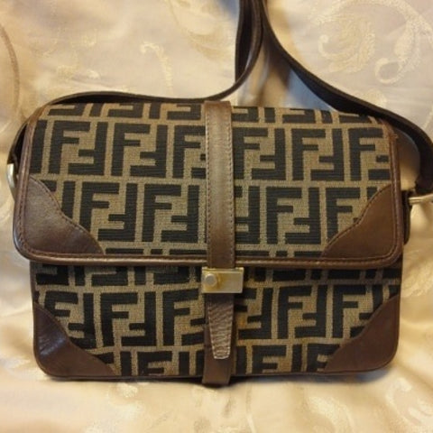 SOLD OUT: Vintage Fendi jacquard fabric shoulder purse with leather trimmings. Very classic and elegant