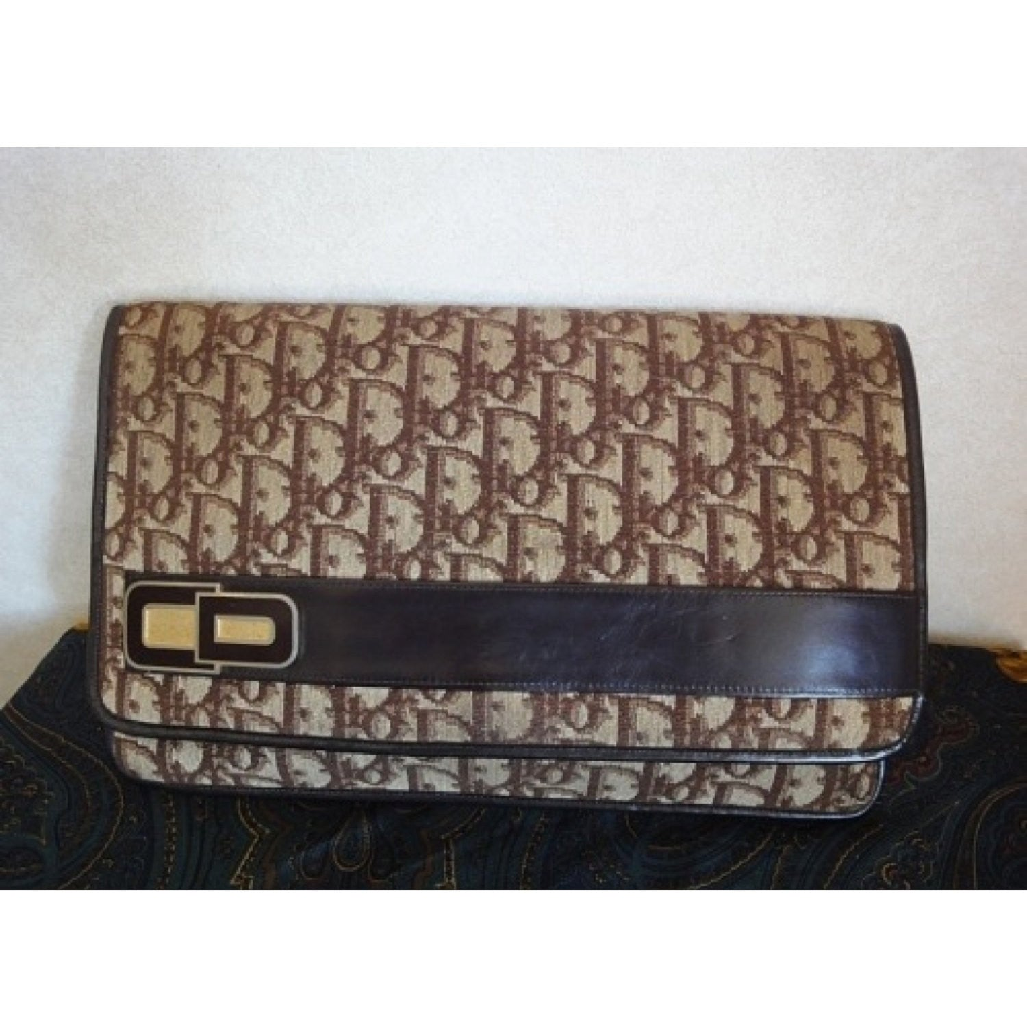 SOLD OUT: Vintage Christian Dior trotter jacquard long clutch purse with gold tone charm