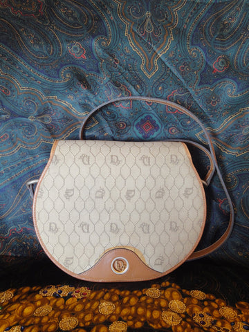 Vintage Christian Dior beige round shoulder purse. Honeycomb collection.