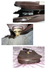 Vintage Salvatore Ferragamo darkbrown large tote with the golden closure. Classic piece from Ferragamo