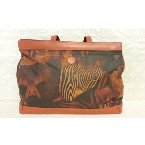 SOLD OUT: Vintage FENDI tropical and animal zoo leather large shopping tote. Very rare Fendi vintage. Zebra, Bear, Tiger and more.