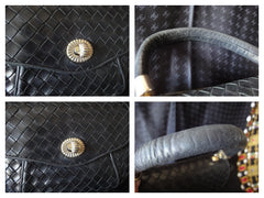 Vintage rare Bottega Veneta intreciato woven leather purse in black with unique opening closure motif. One of a kind.