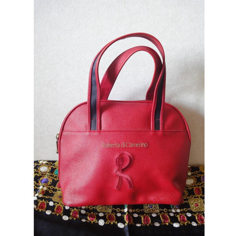 Vintage Roberta di Camerino red purse mini tote with R embroidery. Chic and cute roberta.