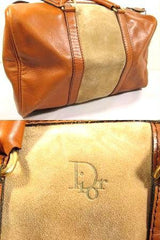 SOLD OUT: Vintage 70s Christian Dior Bagages camel brown duffle purse. Mid size duffle bag in suede trimming. Dior logo jacquard interior