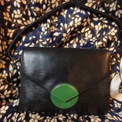 SOLD OUT: Vintage Louis Vuitton rare epi mod purse with green beak flap. very chic and mod Has a blue and red version too.