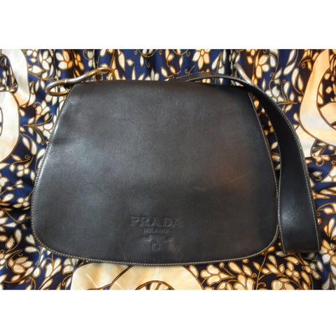 SOLD OUT: Vintage PRADA genuine leather calfskin messenger style bag. A rare leather unisex purse from Prada