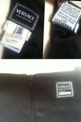 Vintage Gianni Versace black and check pattern vinyl dress with medusa motifs. Gorgeous dress Lady Gaga style.