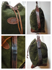 SOLD OUT: Vintage Mulberry dark green khaki suede leather bucket hobo bag with brown croc embossed trimming. Unisex . Made in England