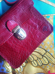 SOLD OUT: MINT. Vintage Mulberry croc embossed red leather coin purse in Kelly bag style. Best vintage gift.