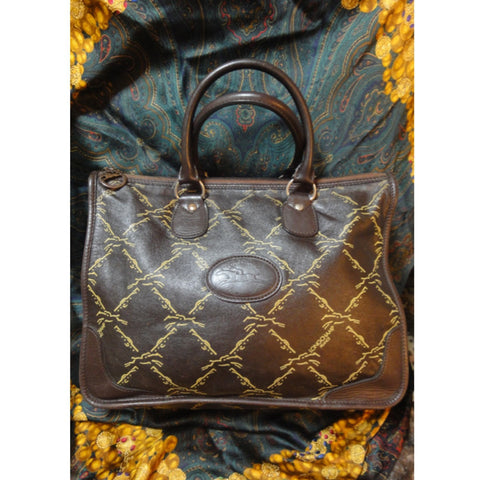 SOLD OUT: Longchamp a rare 80's Vintage leather monogram tote. Classic purse for unisex and daily use
