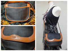 SOLD OUT: Vintage Christian Dior nylon and leather trimming shoulder purse with CD logo all over. Chic and cute Dior.